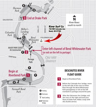 Deschutes River Float Map River Surf Co