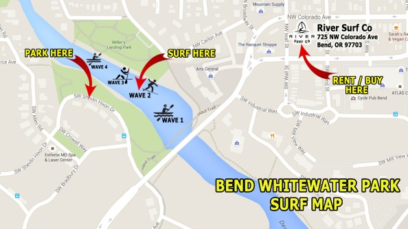 MAP TO THE SURF WAVE AT THE BEND WHITEWATER PARK